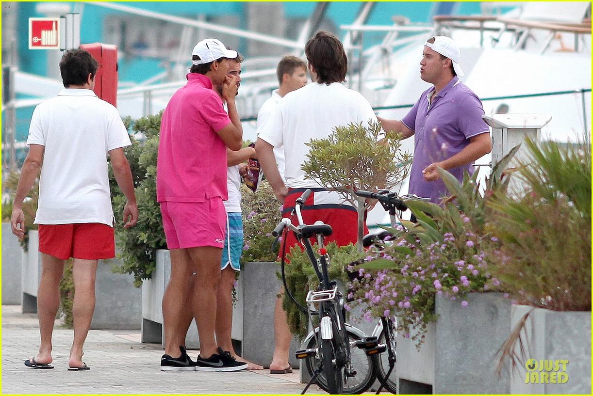 rafael nadal confident shirtless pink during ibiza vacation 283151363