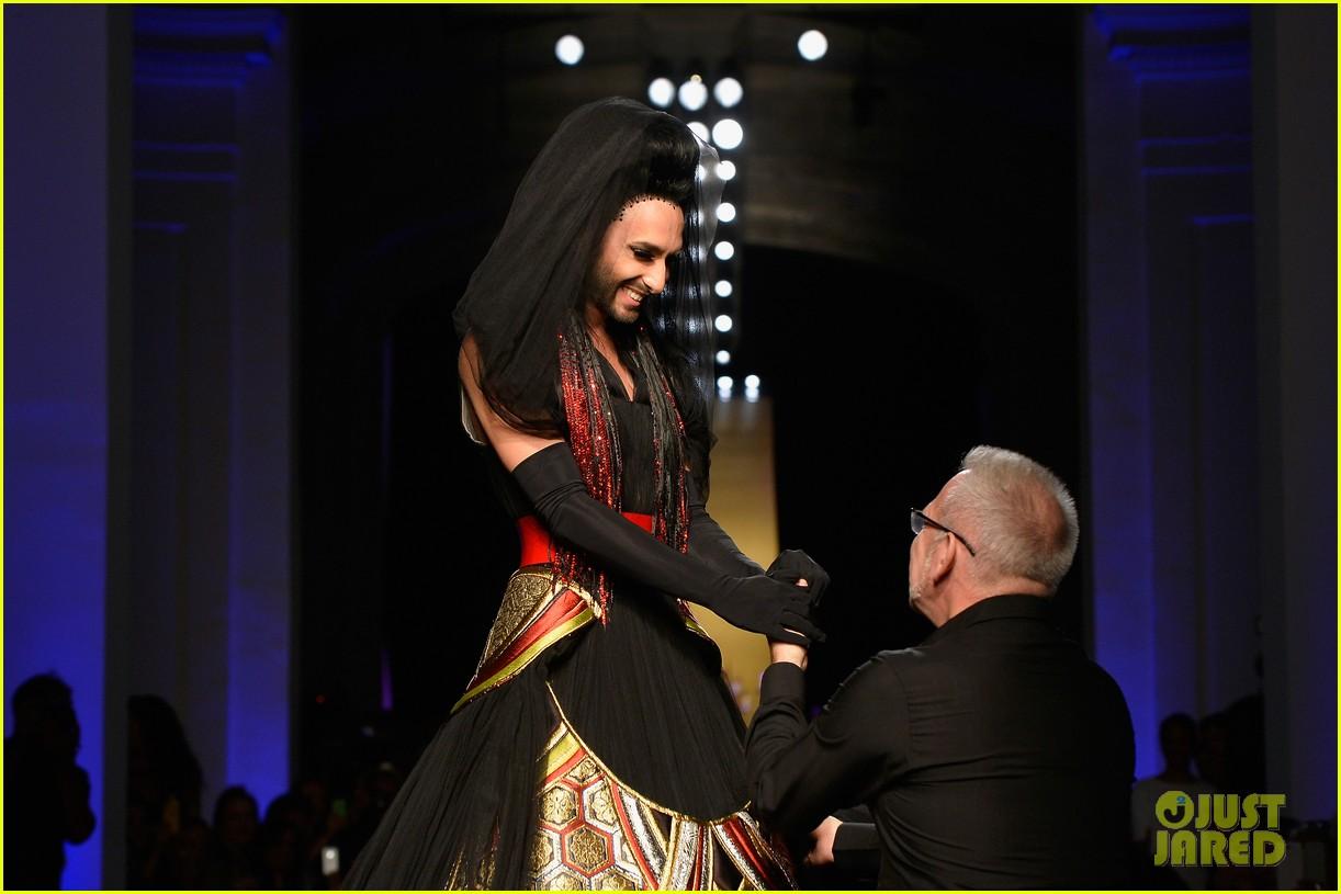 bearded drag queen conchita wurst walks jean paul gualtier show runway 013152314