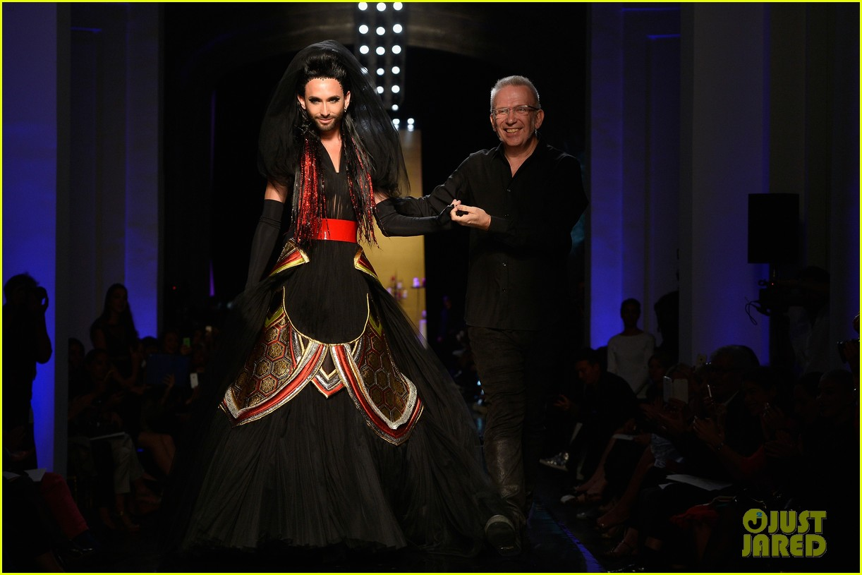 bearded drag queen conchita wurst walks jean paul gualtier show runway 023152315