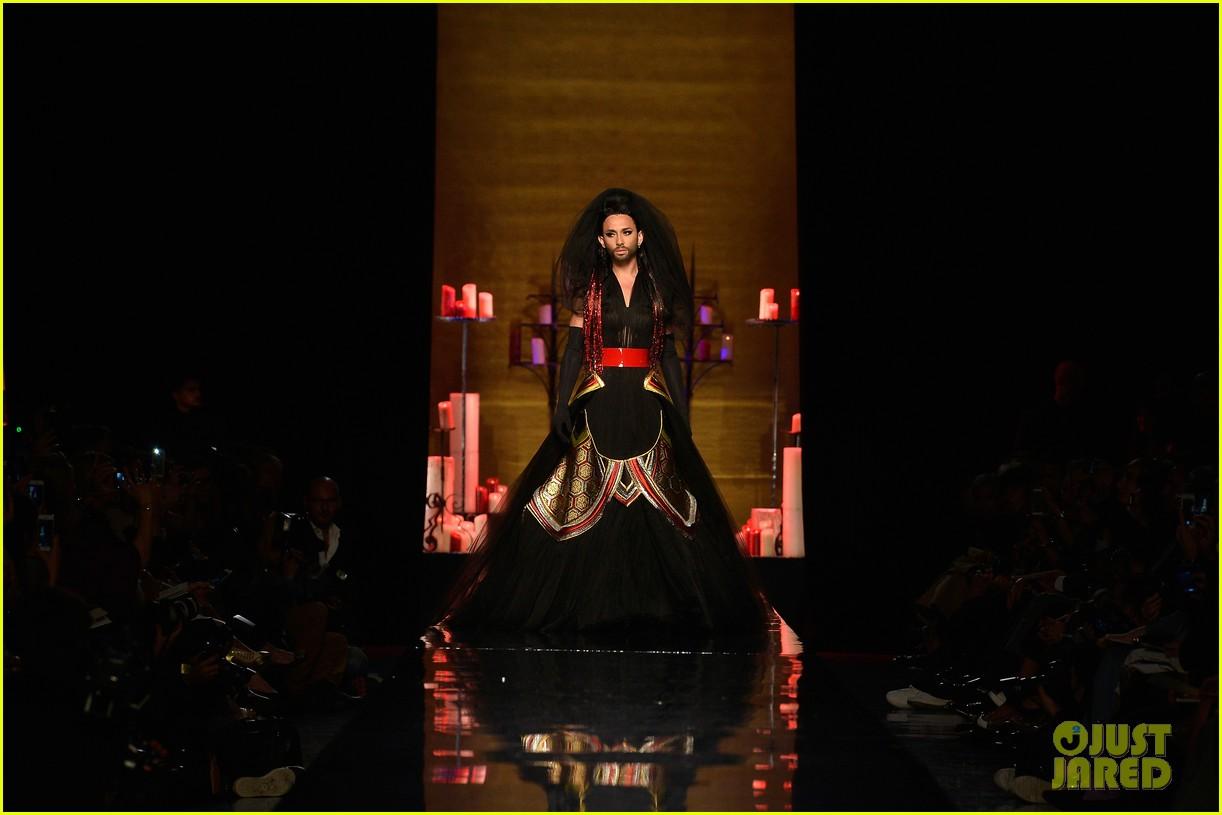 bearded drag queen conchita wurst walks jean paul gualtier show runway 063152319