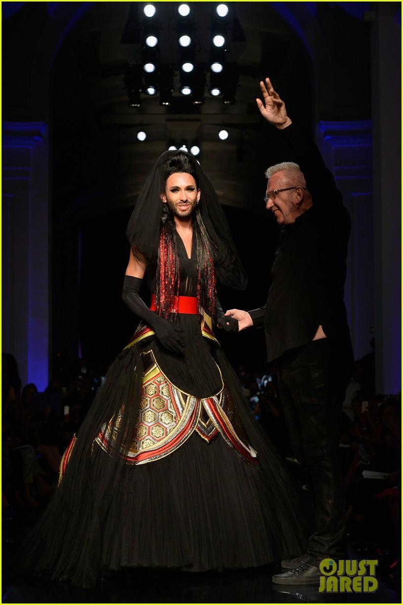 bearded drag queen conchita wurst walks jean paul gualtier show runway 073152320