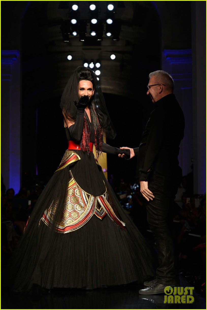bearded drag queen conchita wurst walks jean paul gualtier show runway 083152321