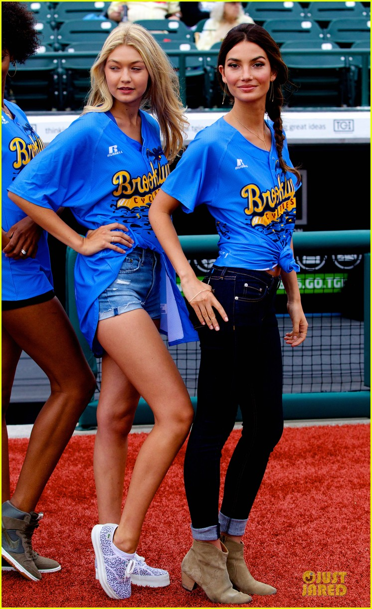 lily aldridge gigi hadid throw out first pitch at baseball game 243181370