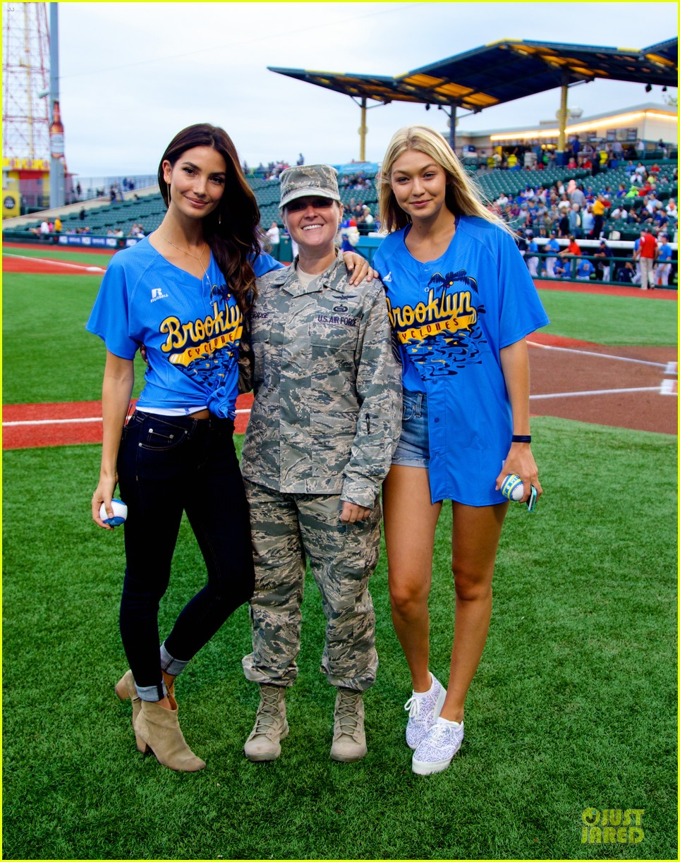lily aldridge gigi hadid throw out first pitch at baseball game 333181379