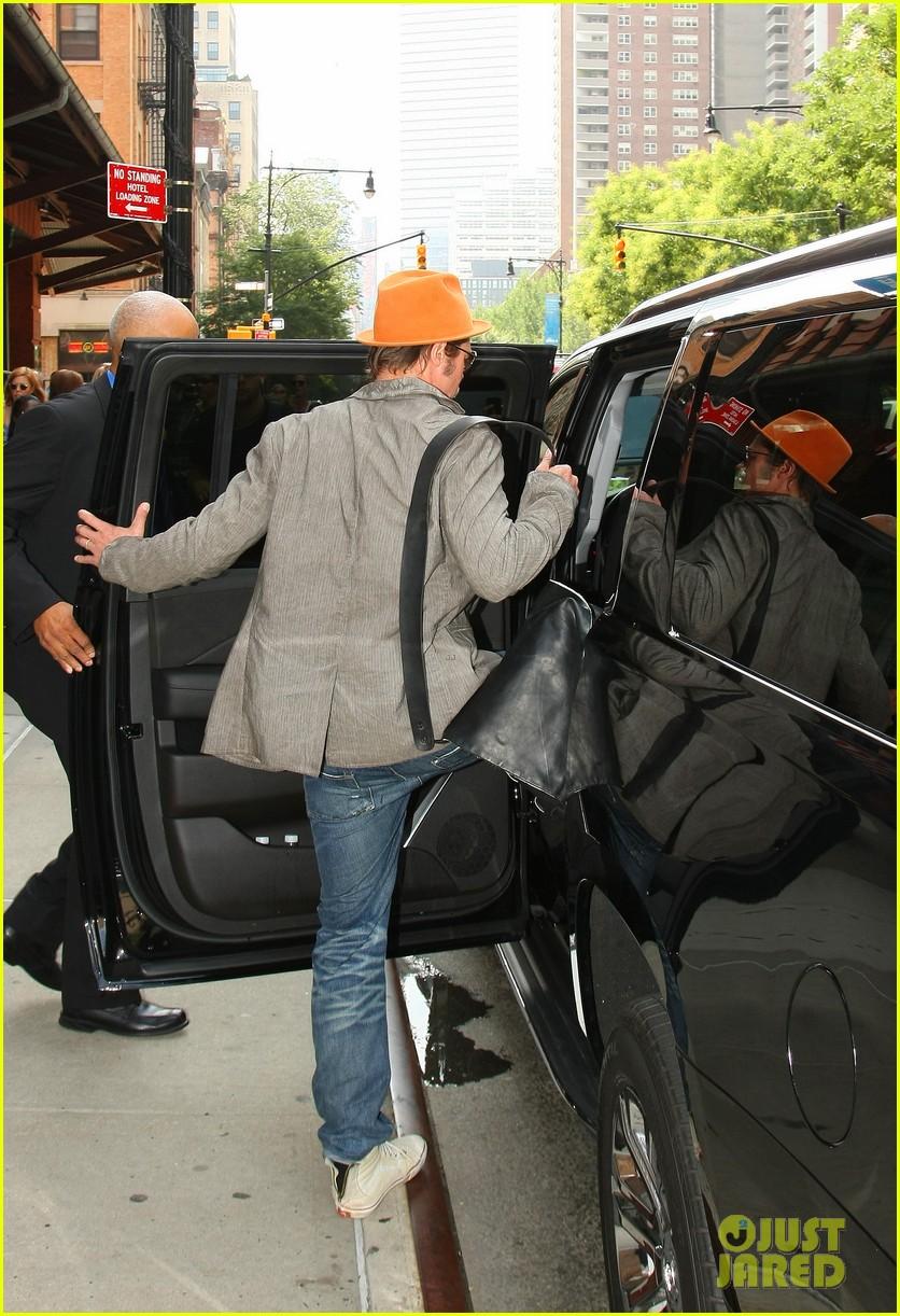 brad pitt wears his favorite orange hat nyc 053187086