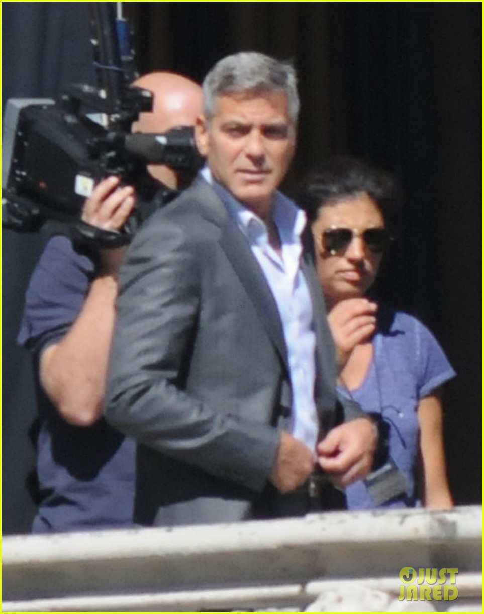 george clooney gets visit from amal alamuddin on set 083185136