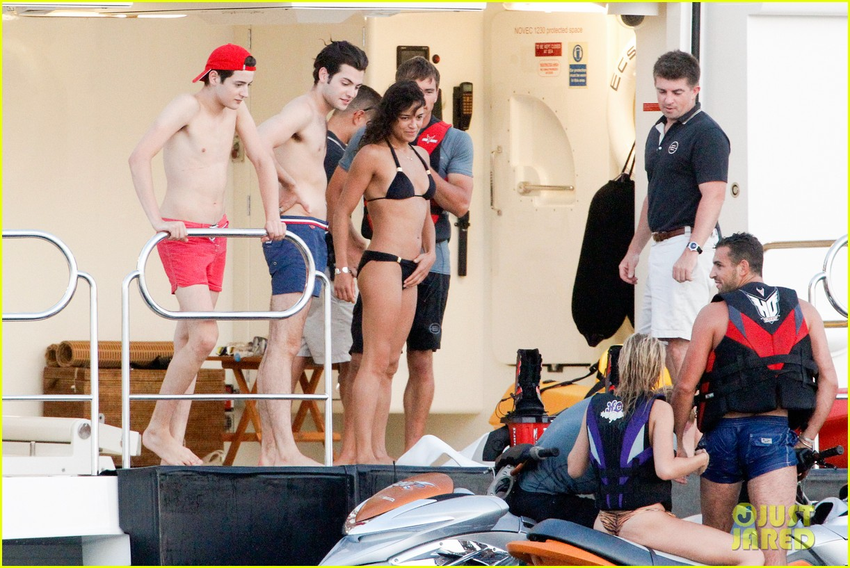 zac efron goes shirtless for jet ski fun with michelle rodriguez 193169344