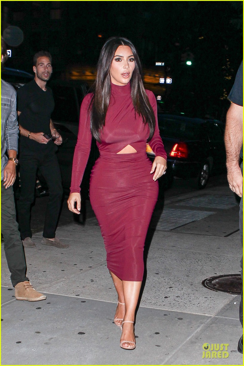 Kim Kardashian Shows Midriff In Sexy Dress at Dinner with BFF ...