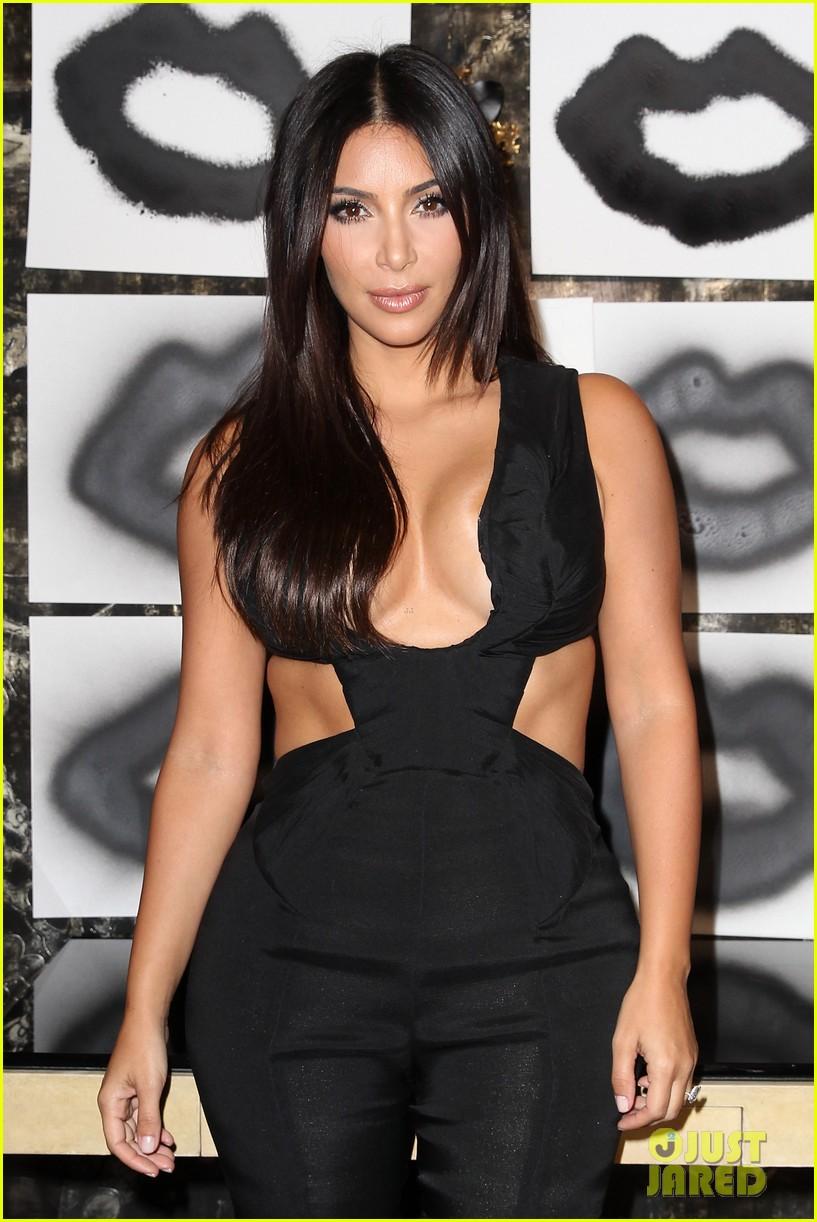 kim kardashian rocks super sexy revealing black jumpsuit 073180032