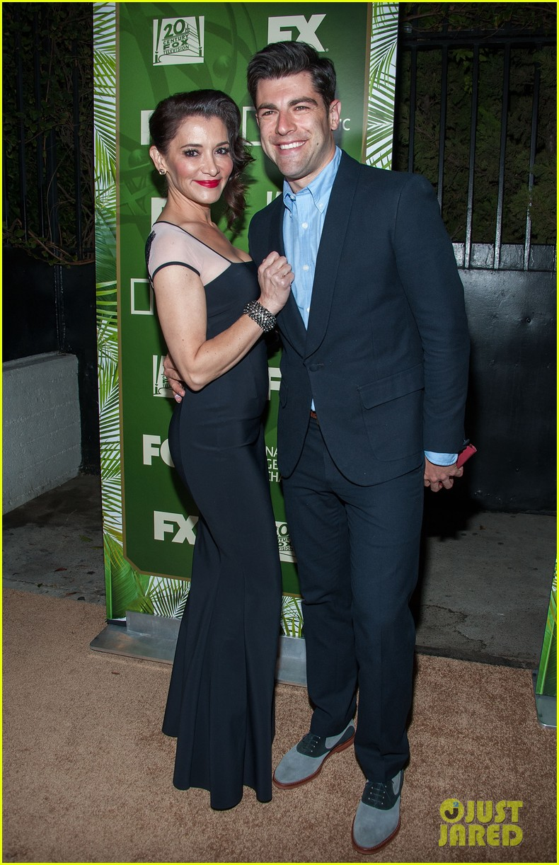 new girls max greenfield brings wife tess sanchez to emmys 2014 after party 083184278