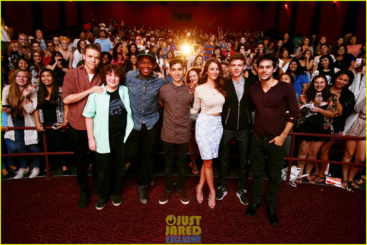 dylan obrien maze runner justjared screening 213182183