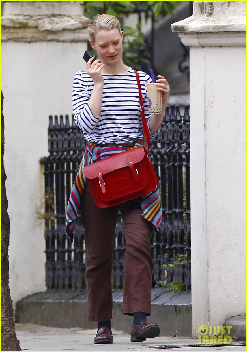mia wasikowska funny phone call london coffee 133184741