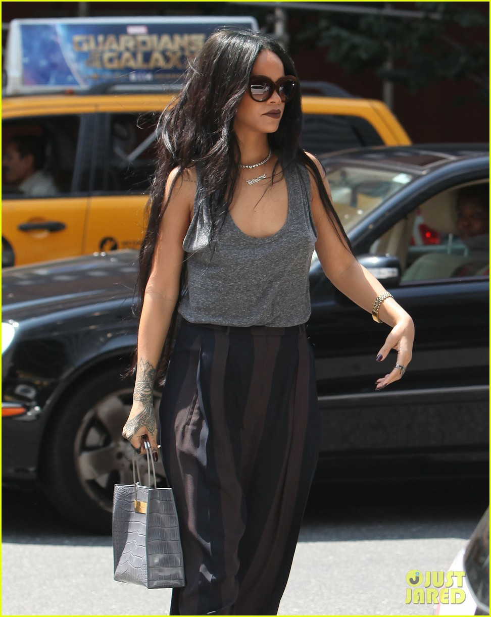 rihanna goes braless in new york city 103179700