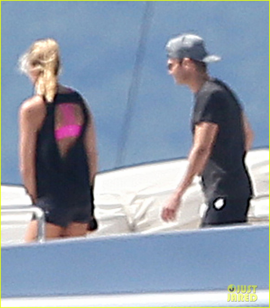 ryan seacrest shirtless yacht girlfriend shayna taylor bikini 223180453