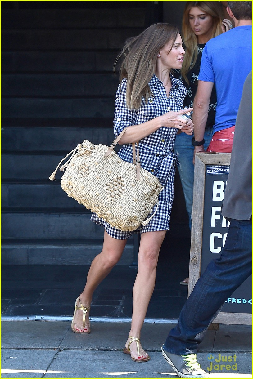hilary swank laughing after coffee 113179995