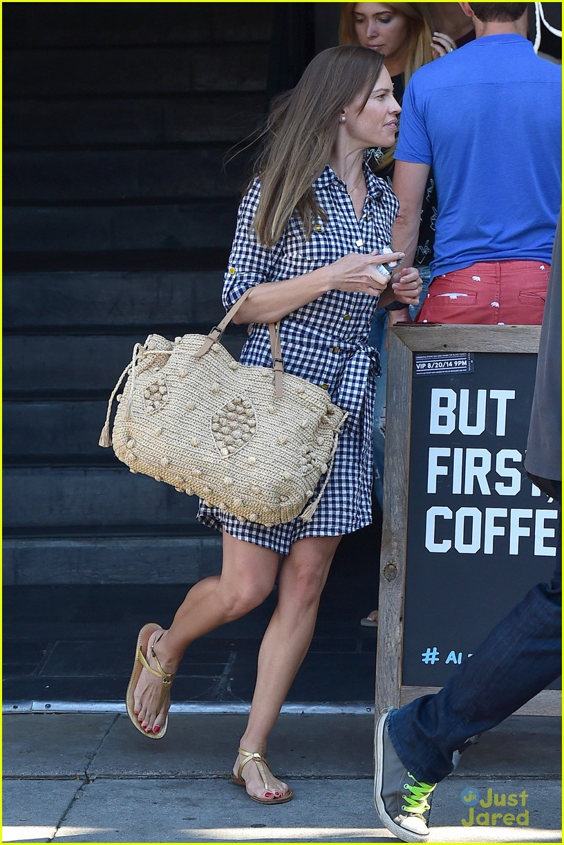 hilary swank laughing after coffee 163180000