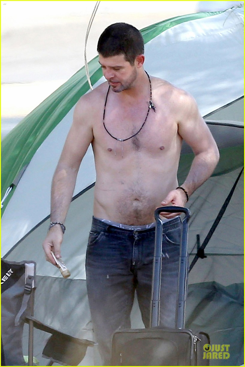 Robin Thicke Goes Shirtless During Lake Perris Camping