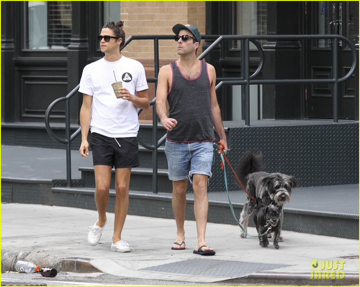 zachary quinto boyfriend miles mcmillan dog walk tribeca 023182220