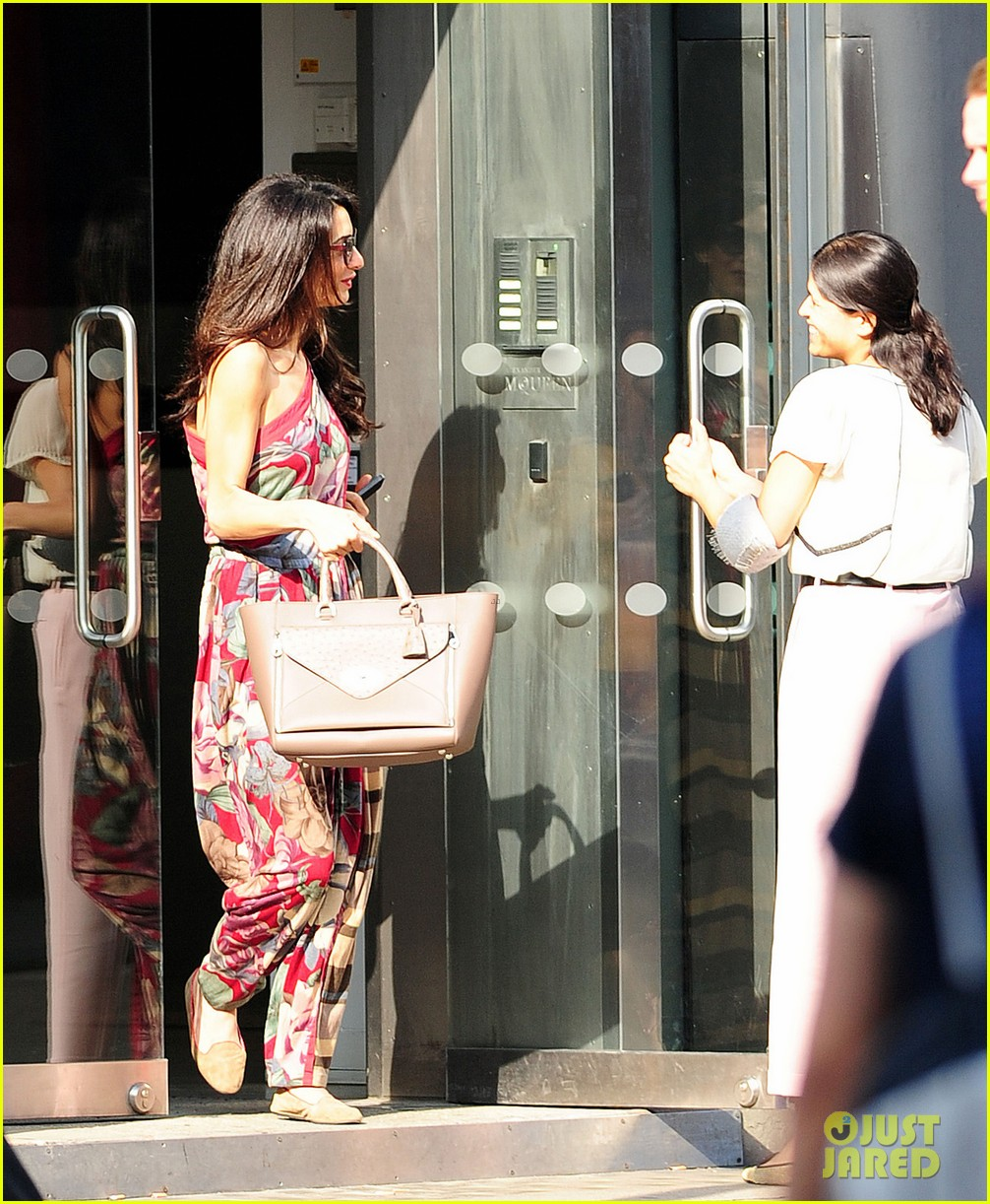 amal alamuddin goes for a fitting at alexander mcqueen 243189384