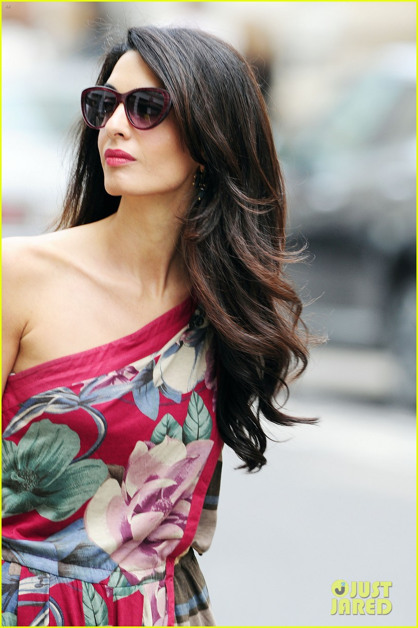 amal alamuddin goes for a fitting at alexander mcqueen 303189390