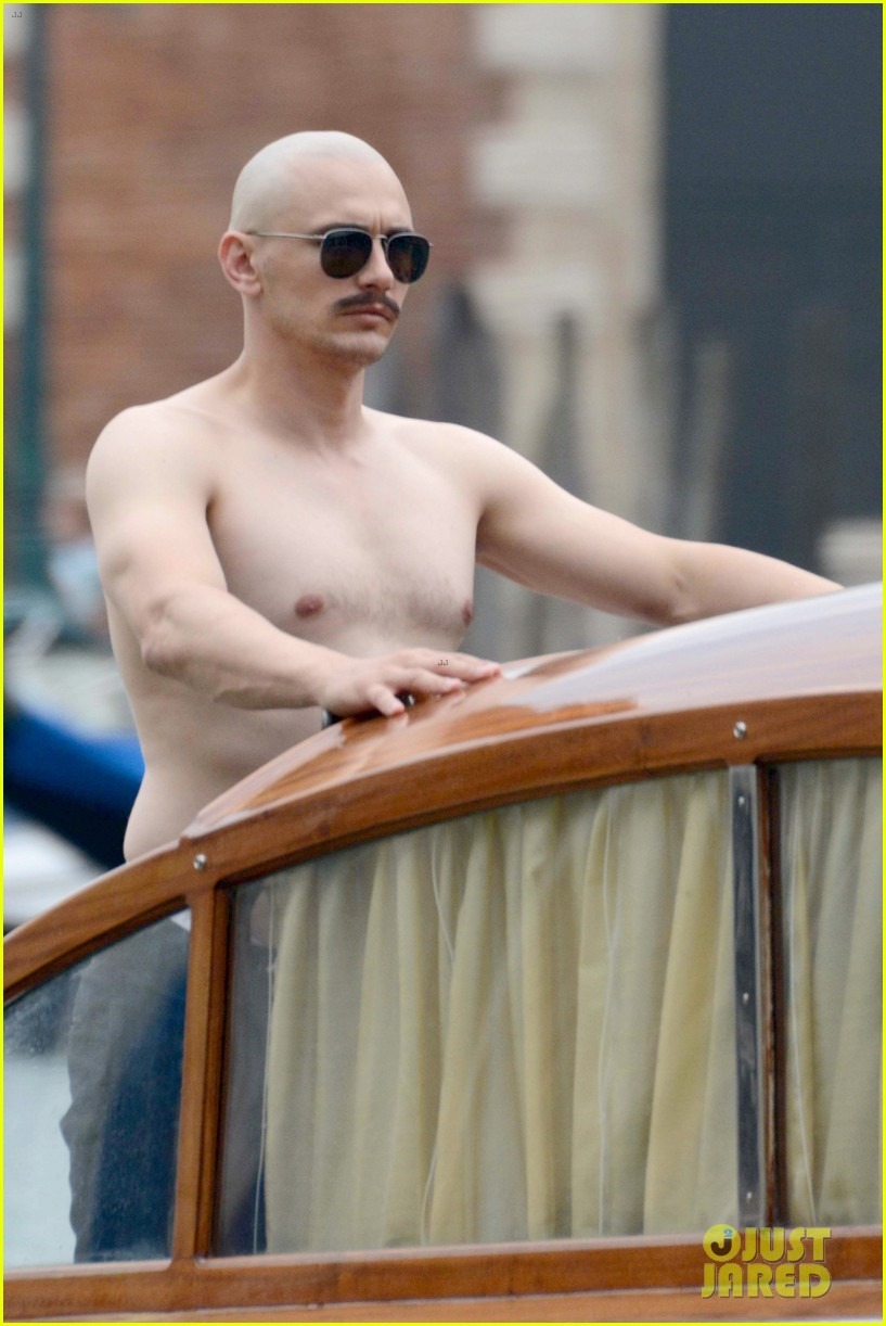 james franco covers his bald head at the sound the fury venice film 023189837