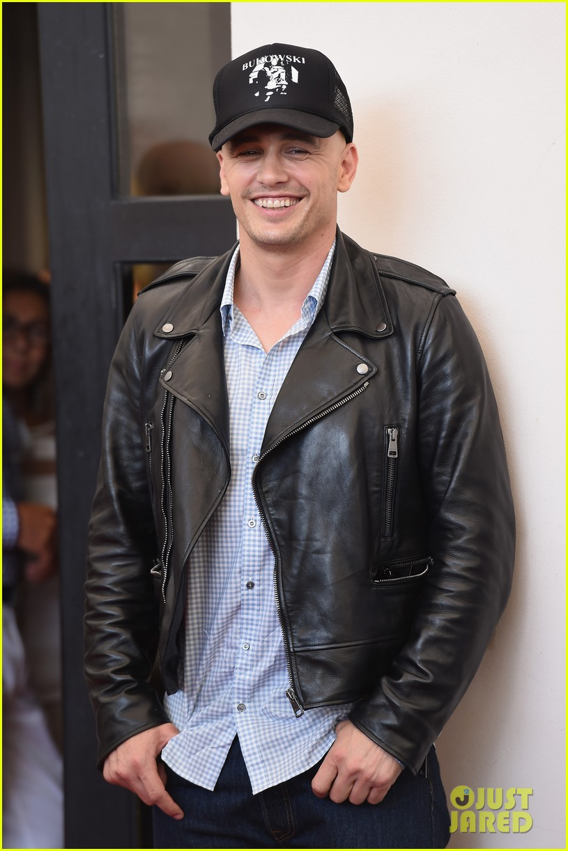 james franco covers his bald head at the sound the fury venice film 053189840