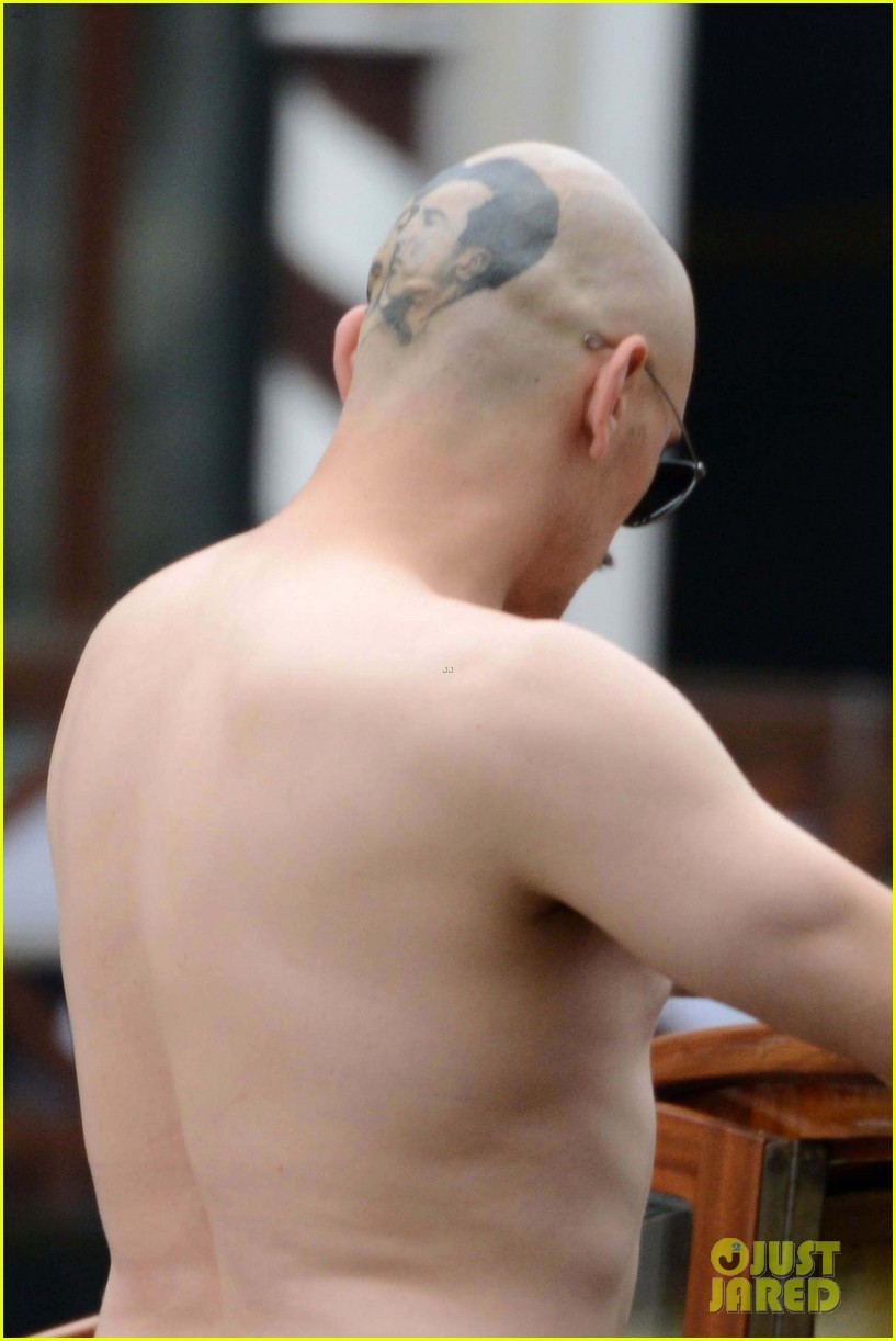 james franco covers his bald head at the sound the fury venice film 173189852