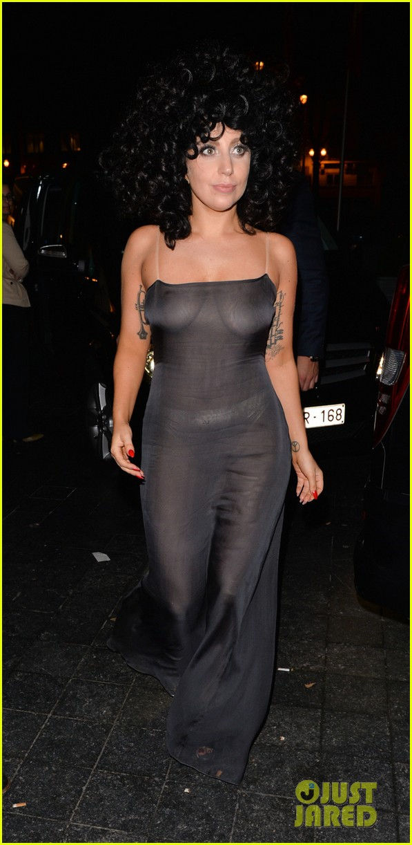 lady gaga celebrates cheek to cheek release in see through dress 13203023