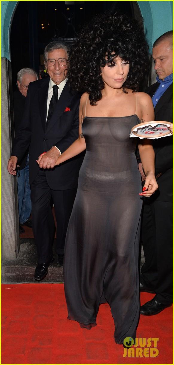 lady gaga celebrates cheek to cheek release in see through dress 43203026