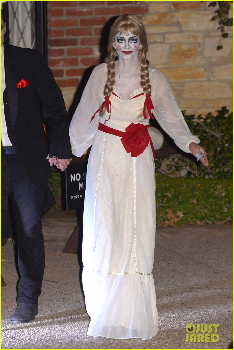 courteney cox dolls up as annabelle for halloween with fiance johnny mcdaid