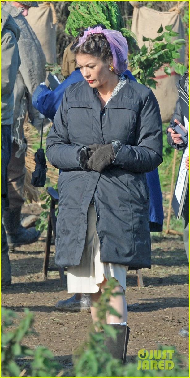 Catherine Zeta Jones Wears Purple Hairnet For Dads Army Photo