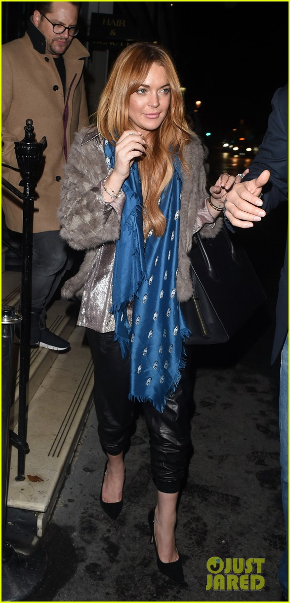 lindsay lohan fur jack dinner london 093215470
