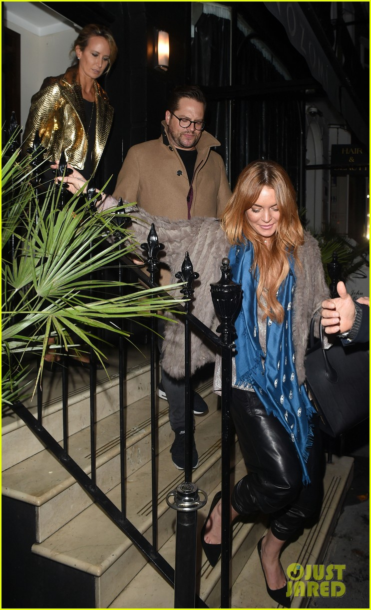 lindsay lohan fur jack dinner london 103215471