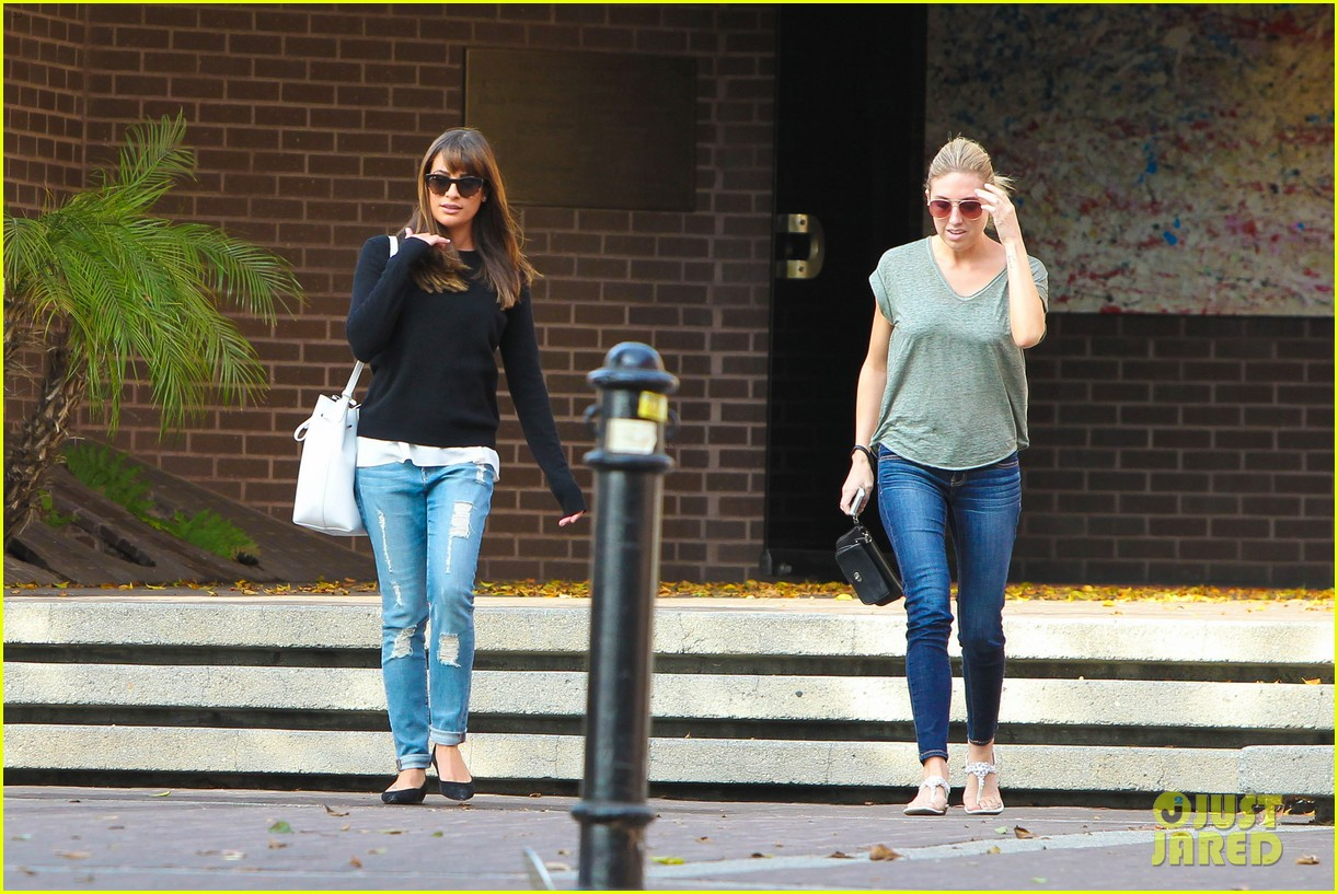 lea michele drops by police station before soa 243219245