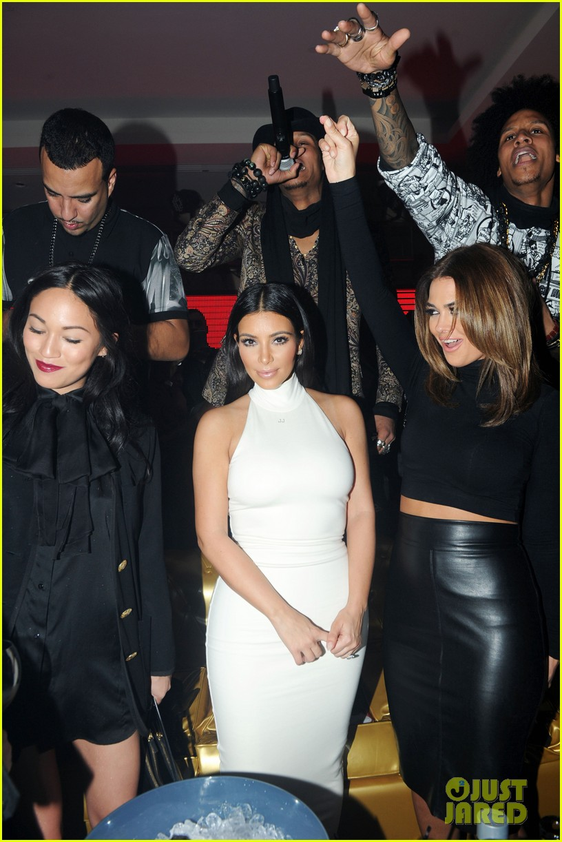 kim kardashian parties with french montana surprises the troops 033249019