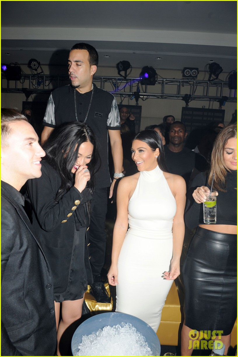 kim kardashian parties with french montana surprises the troops 153249031