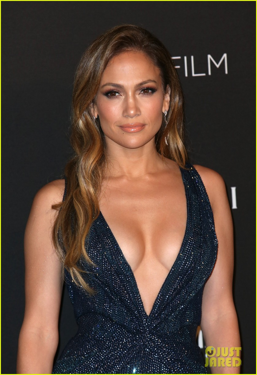 Jennifer Lopez Gets Daring in a Low Cut Dress at the LACMA