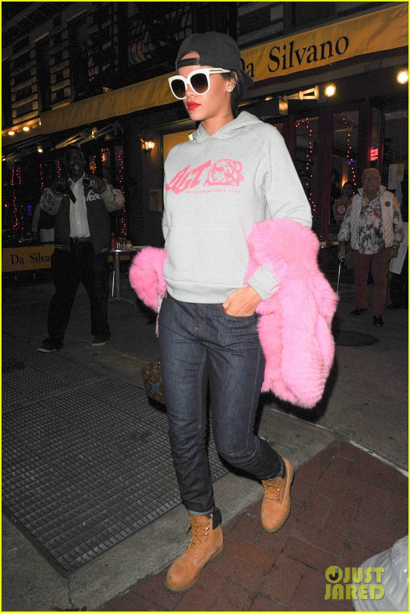 rihanna is all wrapped up in pink fur 083236292