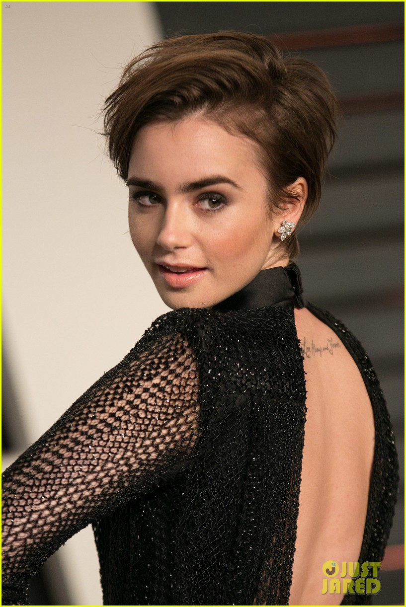 lily collins debuts new pixie haircut at oscars after party photo 3311701 2015 oscars 2015. Black Bedroom Furniture Sets. Home Design Ideas