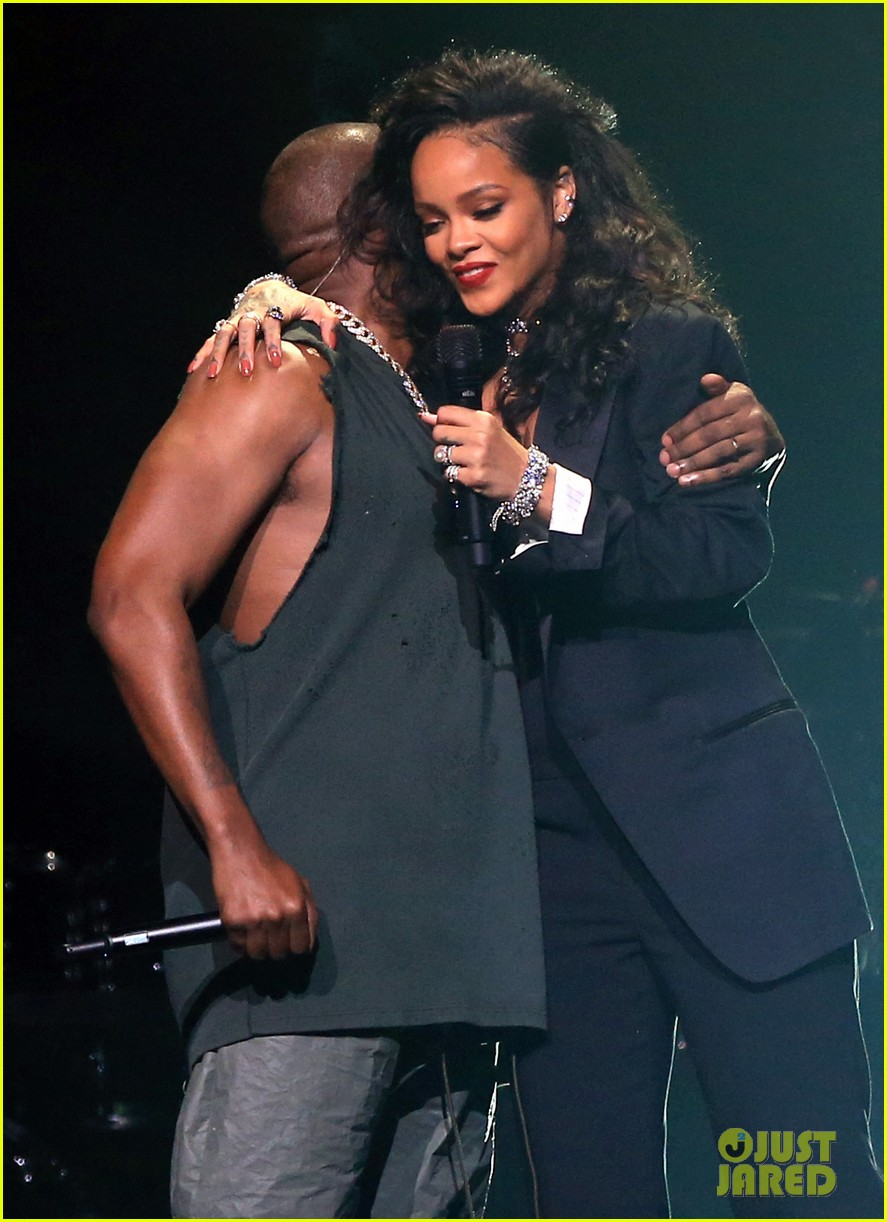 Kim Kardashian Supports Kanye West While Performing with Rihanna at