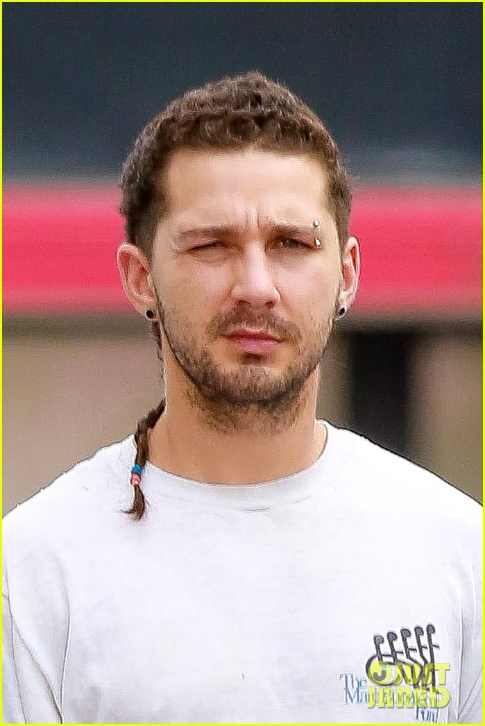 Shia Labeouf Rocks New Rattail Hairstyle Eyebrow Piercing Photo