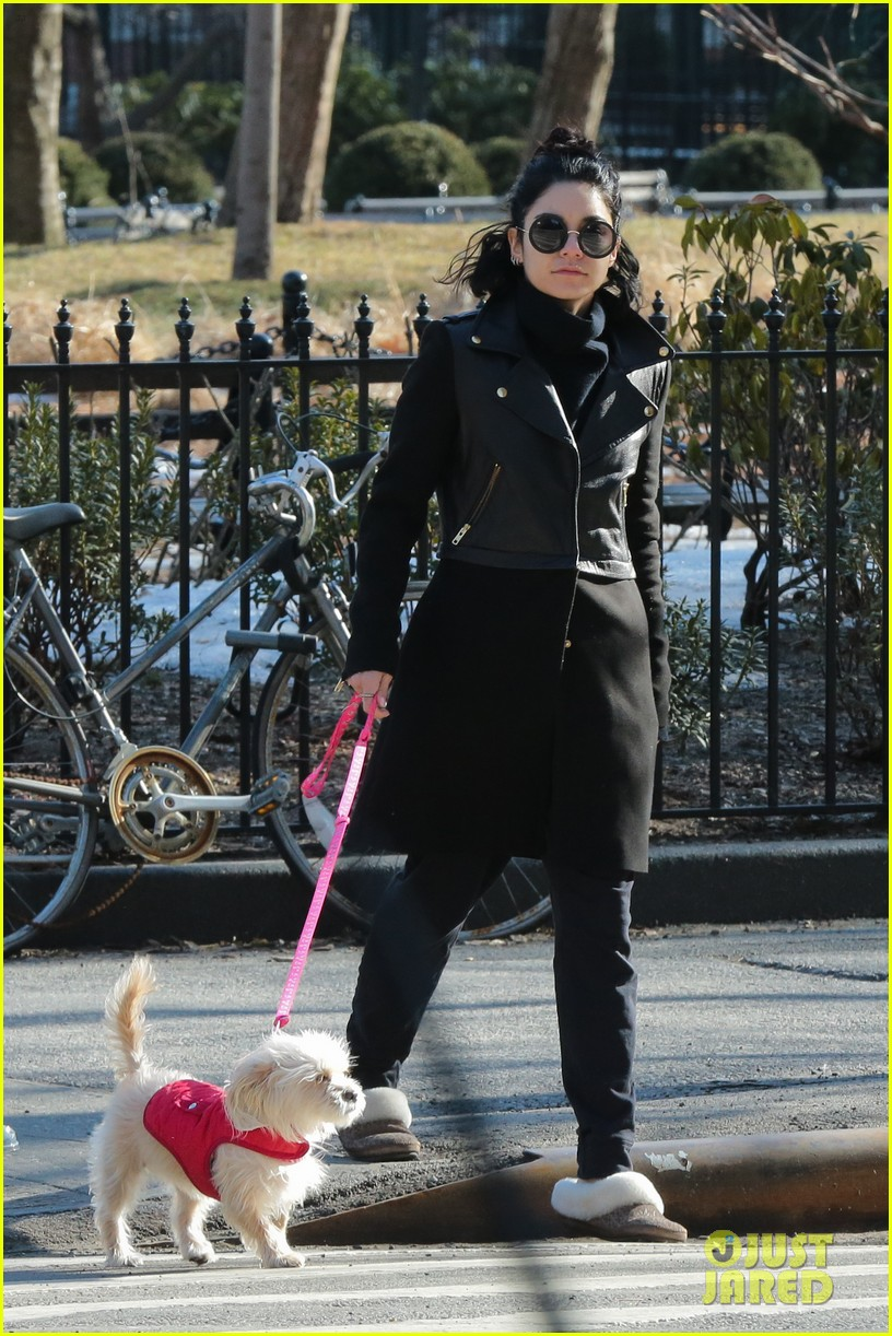 vanessa hudgens walks darla before meetings nyc 02