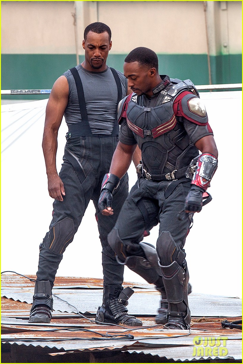 chris evans anthony mackie get to action captain america civil war 183370446