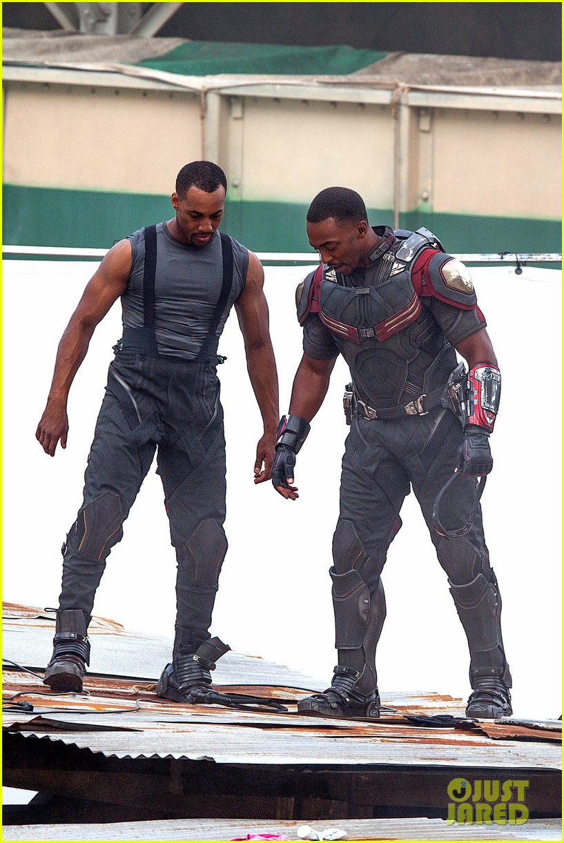 chris evans anthony mackie get to action captain america civil war 273370455