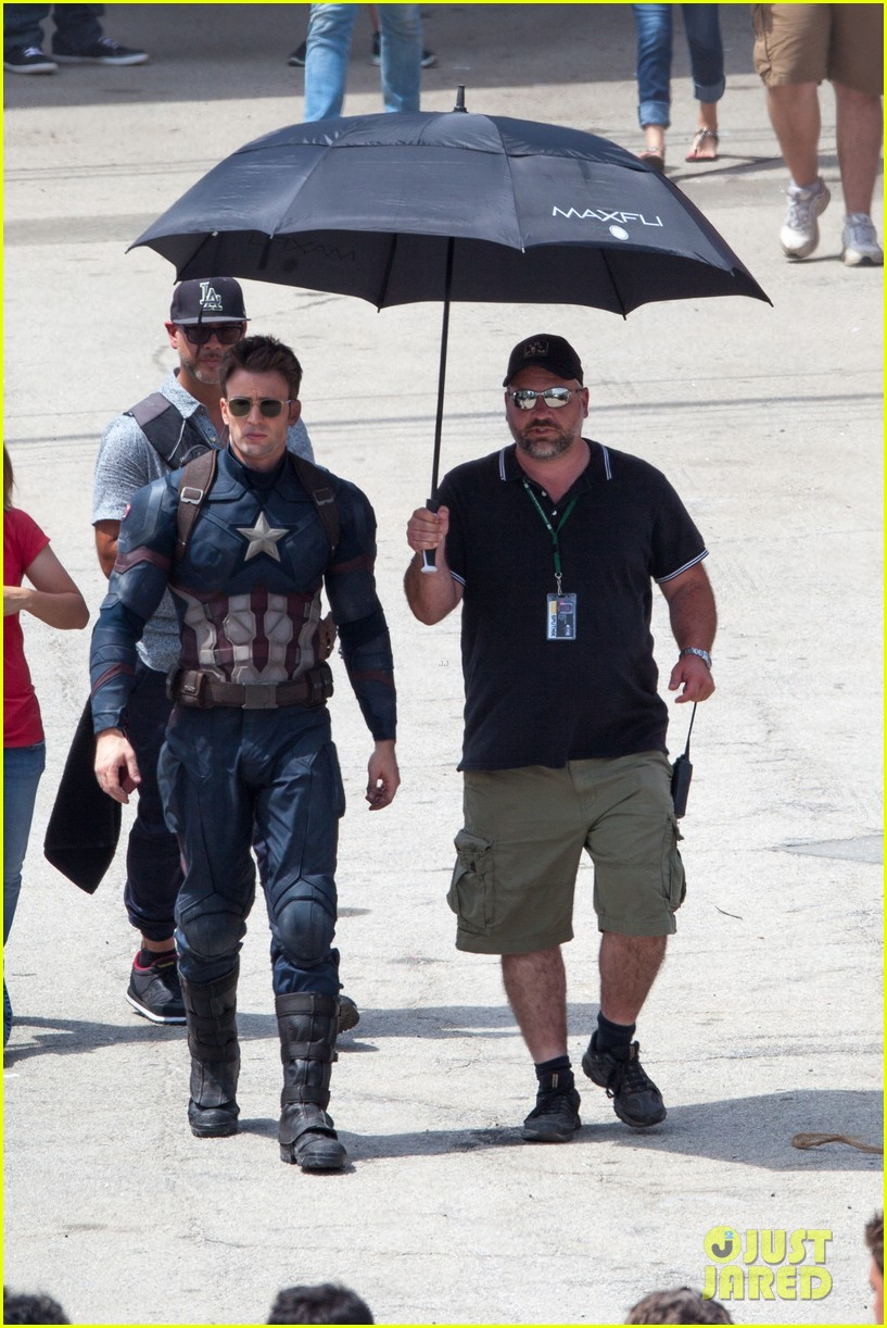chris evans anthony mackie get to action captain america civil war 333370461