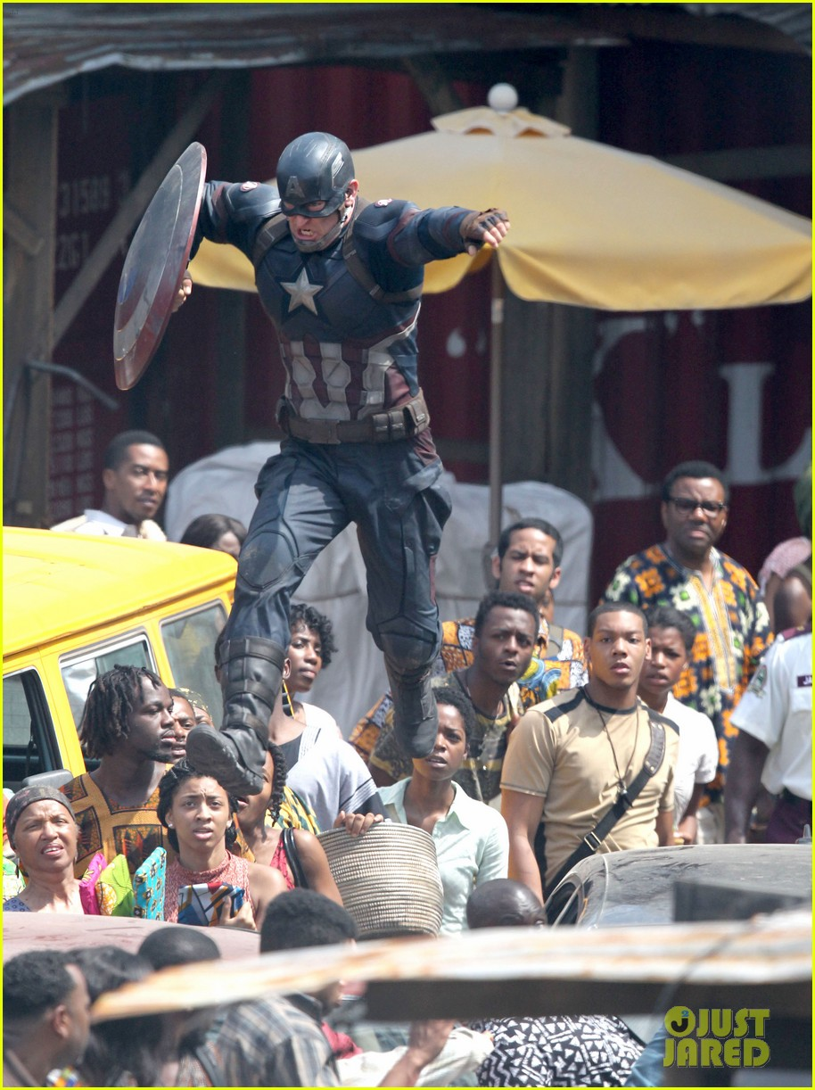 chris evans anthony mackie get to action captain america civil war 503370478