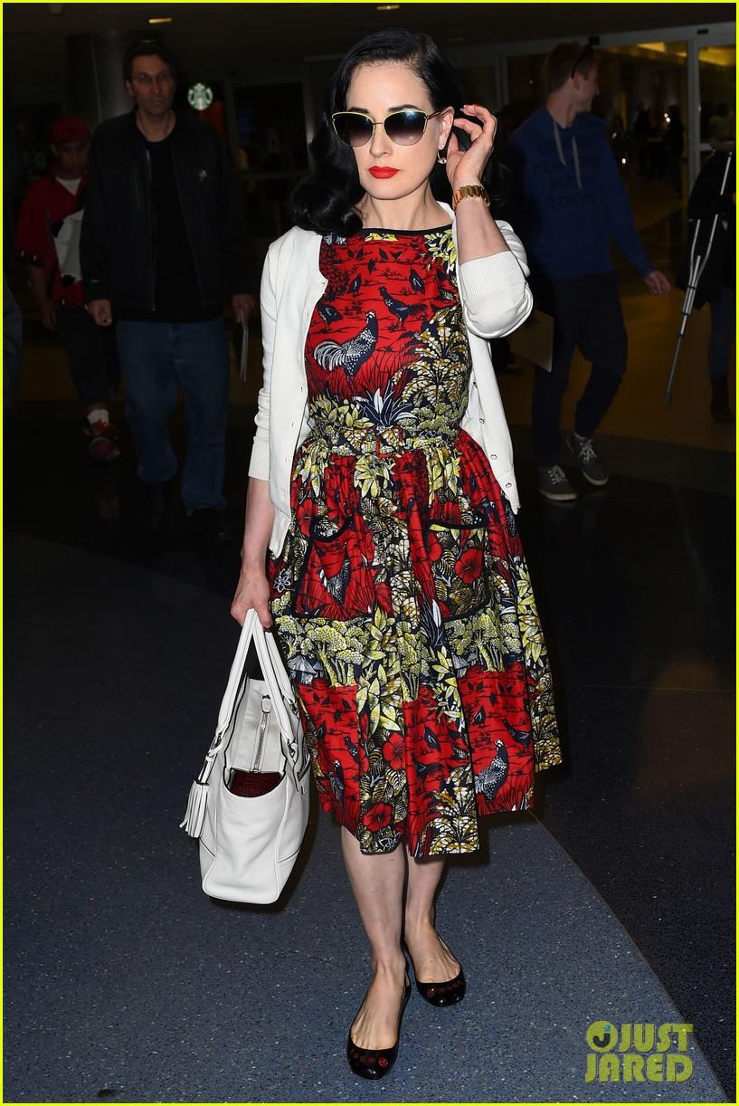 3bd56458b03d Dita Von Teese Returns to LAX in Same Dress She Left Wearing!  Photo ...