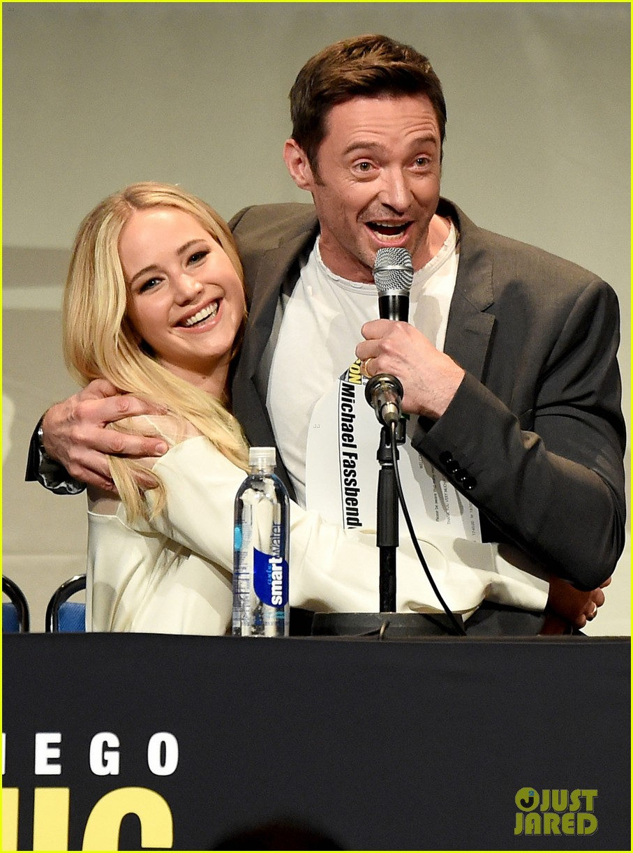 jennifer lawrence hugh jackman embrace at x men comic con panel 053414092