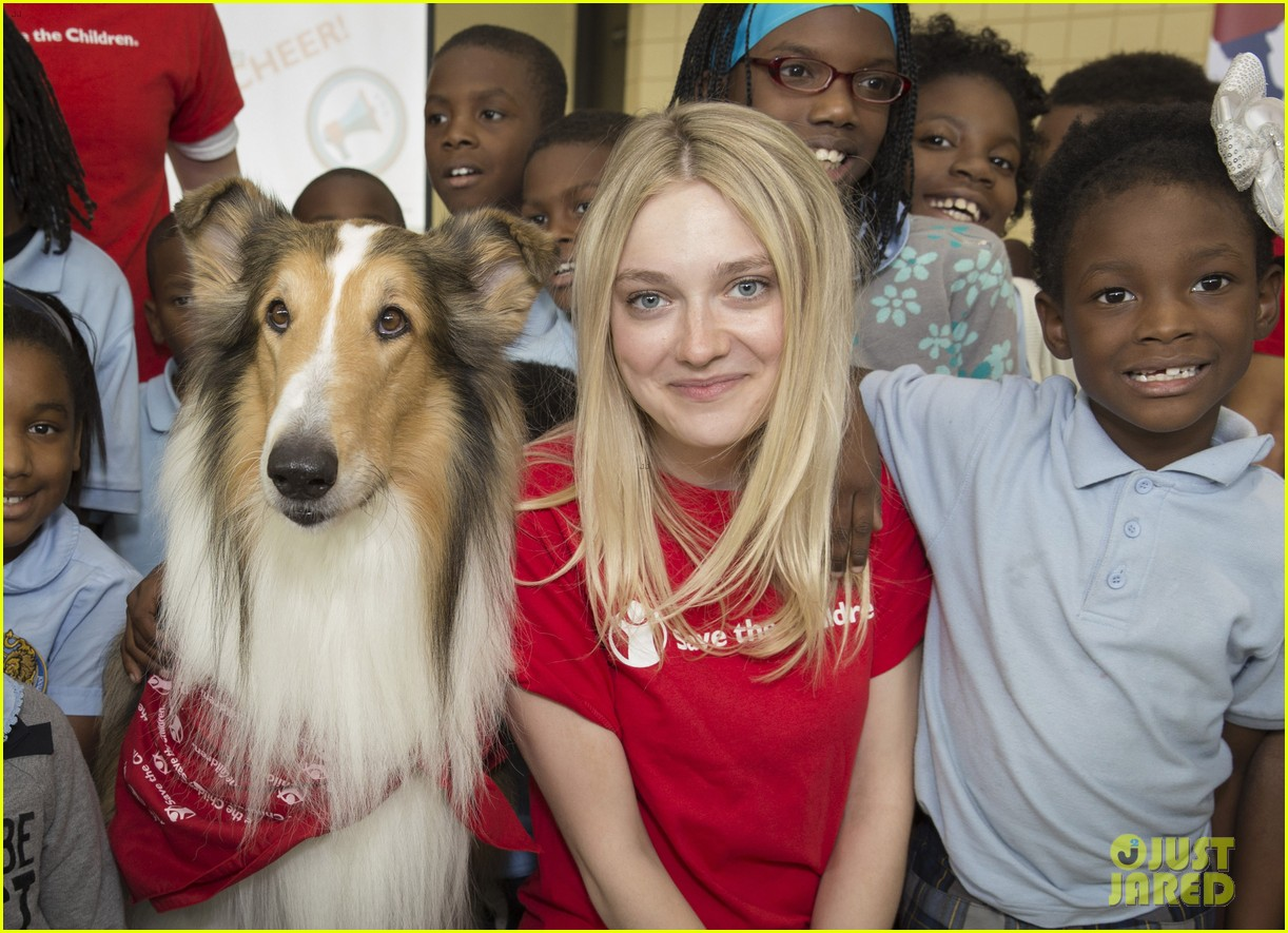 dakota fanning lassie team up at save the childrens katrina anniversary prep rally 023447235