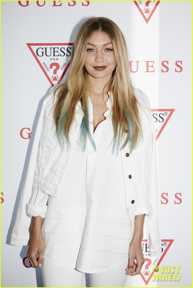 gigi hadid blue hair tips guess david jones brunch sydney 063433071